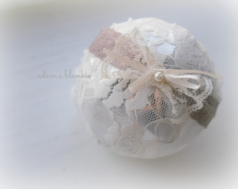 Isa - Taupe Gray Lace Headband - Ivory Cream Satin Bow - Pearl - Newborn Infant Baby Girl Toddler Adult