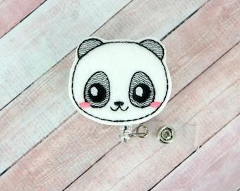 Panda Badge Reel - Animal Badge - Badge Holder - Felt Badge Reel- Retractable ID Badge Holder - Badge Pull - Nurse Badge - Lanyard - Nurse