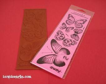 Butterfly Bits / Invoke Arts Collage Rubber Stamps / Unmounted Stamp Set