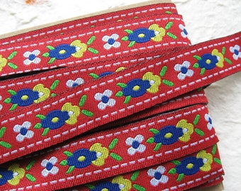 "Jacquard ribbon trim - woven Jacquard trim - floral Jacquard ribbon - 0.6"" wide (15mm) - floral ribbon - boho ethnic ribbon PER METRE"
