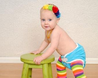 Rainbow Baby Headband Colorful Bright headband  birthday Girl Mini shabby baby bow hair bow