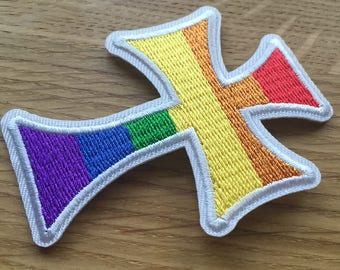 Rainbow Pride Cross Patch, LGBT (White)