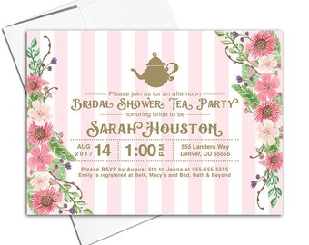 Printable tea party bridal shower invitations - DIY bridal shower invitations - bridal shower invite with flowers and polkadots - WLP00608