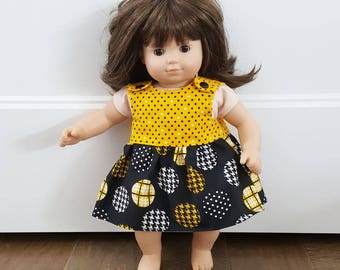 Bitty Baby Clothes -  Bitty Twin Doll Clothes - Bitty Baby Dress - Yellow and Black Polka Dot Dress