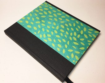 Green and Teal Leaf Print Hardcover Sketchbook // Handmade Sketchbook // Hardbound Journal // Gifts for Artists // Unique Christmas Gifts