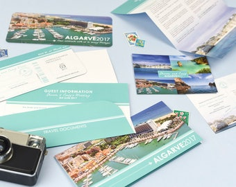 Stylish Airline Ticket Boarding Pass Invite with Matching Travel Wallet and Information Sheet - Perfect for a travel themed wedding