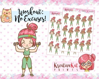 Workout: No Excuses!!! | Gym | Exercise | Fitness | Health | Weight Lifting | Cartoon | Chibi | Kawaii | Dumbbell | Erin Condren