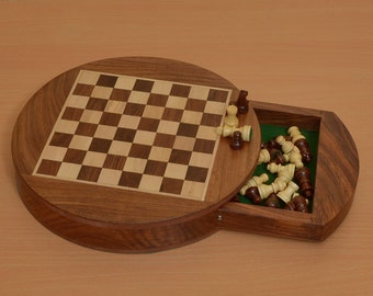 Traveling folding Round Magnetic Chess Set 9 inch Diameter from India. SKU: S1202
