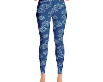 Navy geo clouds womens Yoga Leggings geometric yoga pants