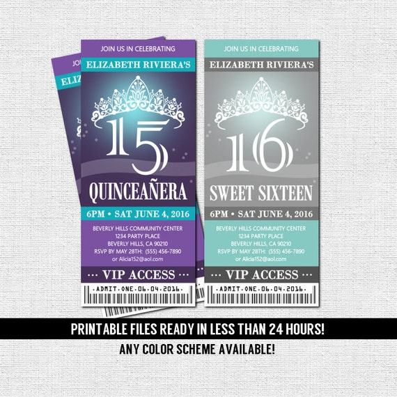 quinceanera or sweet 16 ticket invitations any color scheme