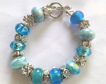 Blue and Turquoise Charm Bracelet