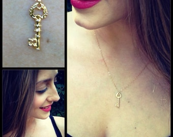 Tiny Gold Skeleton Key Necklace/Choker 14k Gold filled petite chain Vintage Inspired Jewelry