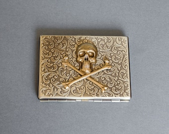 Skull Cigarette Case Metal Wallet Crossbones Case Gothic Victorian Style Case Vintage Style Business Card Case Antique Brass Steampunk Style