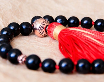 Black Tourmaline Mala Beads, Meditation Beads, Wrist Mala Prayer Beads, Japa Mala, Yoga Beads