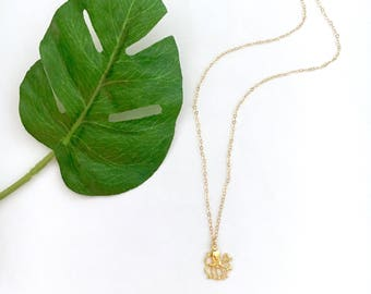 Octopus Charm Necklace, Dainty, 14kt Gold Fill