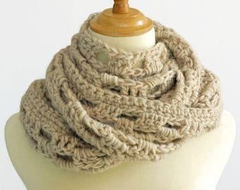 boho, cream beige scarf, crochet knit lace scarf, fashion scarf, decorative skinny scarf, alpaca wool acrylic winter scarf by SpunWool