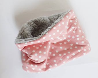 Snood for children - Choker - Snood hot girl - pink dots cotton - Sherpa gray