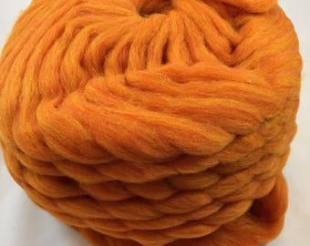 Orange wool roving, needle felting, spinning, weaving wool