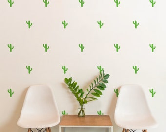 Pattern Green Cactus| Patterns Shapes Animals Kids Nursery Decor | Removable Wall Decal Sticker | MS226VC-Green