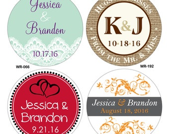 220 - 1.75 inch Personalized Wedding Stickers Labels - hundreds of designs to choose from - change designs to any color or wording