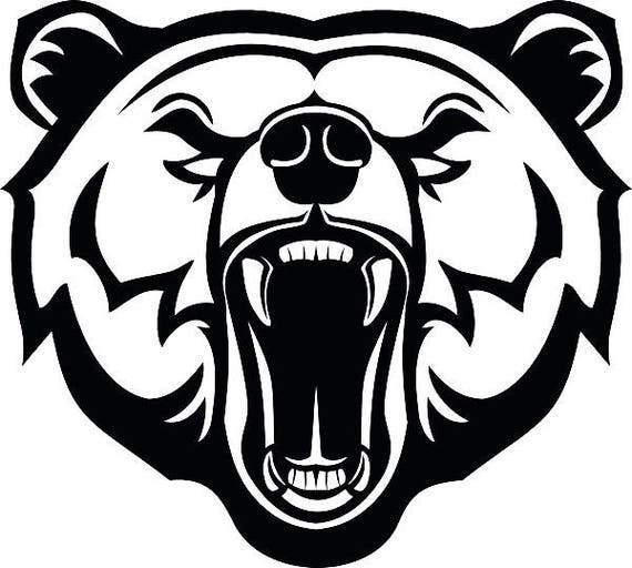 Grizzly Bear 3 Head Face Animal Growling Mascot .SVG .EPS