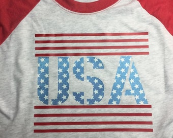 Next Level Vintage Red Sleeved Heather White Body Raglan 4th Fourth of July Independence Day Design T Shirt HTV