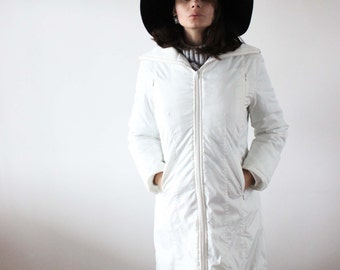 White long parka jacket Vintage white parka comfy for cold weather Puffy urban jacket S/M 90's