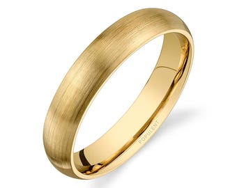 14k Yellow Gold Band (4mm) | PLAIN | Matte Brushed Rounded Dome + Comfort Fit | Men's Women's Wedding Ring
