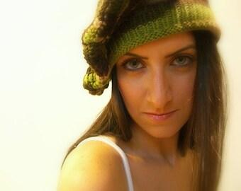 Winter Beret Hat, Handmade, knit, Crochet, One Size, Floppy, Multicolor Green, Brown, Beige, Olive