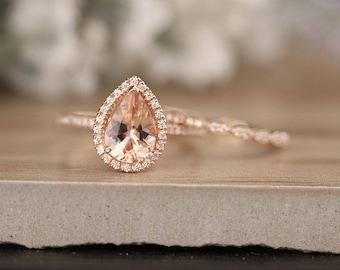 Rose Gold Morganite Ring, Milgrain Diamond Band, Wedding Band, Ring Set, Brdial Ring Set, Peach Morganite Pear 10x7mm Ring Set