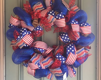 American wreath, USA, veteran, patriotic, red, white and blue, Fourth of July Wreath