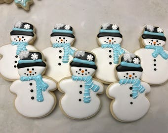 Snowman Cookies | Light Blue and White