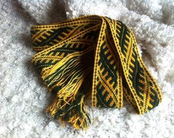 Green ethno sash yellow hand woven belt slavic green belt yellow belt for skirt lithuanian sash for skirt wool sash wool woven national belt