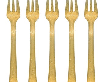 24 PC Glitter Gold Plastic Appetizer Forks/ Glitter Gold Silverware/ Gold Mini Forks/ Gold Party Supplies