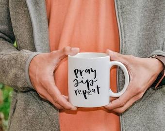 Pray–Sip–Repeat Mug