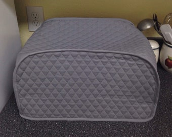 Steel Gray Fabric Toaster Oven Covers Quilted Fabric Dust Cloth Covers for Kitchen Appliances Made to Order