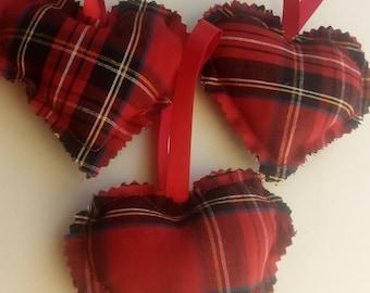 "Decorations. Cotton. Handmade in Scotland. Set of 3. Royal Stewart Tartan / Plaid   4""×3"""