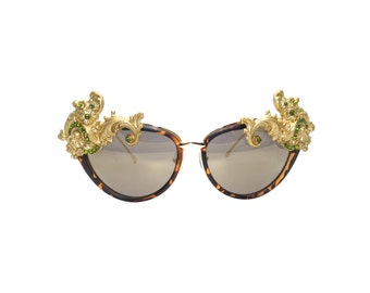 Women's Gold Cat-eye Swarovski Handmade Statement Sunglasses -  ALLAMANDA