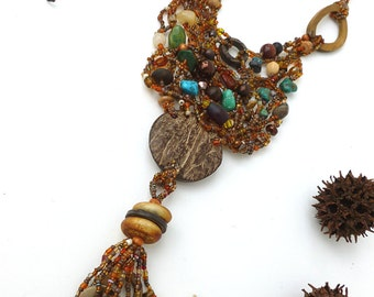 Free form peyote stitch wearable art necklace bohemian unique featured in the Belle Armoire Jewelry summer issue 2013, Forest in fall III