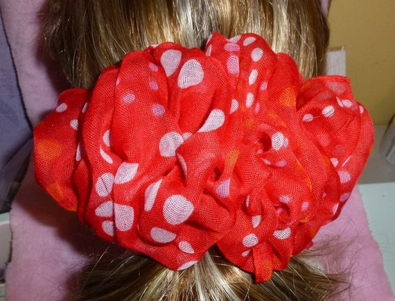 Becky Bows ~  Barrette scarf Hand crafted oversized  BIG hair bow Women or Girls reddish orange polka dots