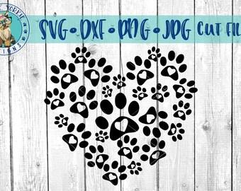 Paw Print Heart - svg, dxf, png, jpg - dog, cats  - heart, paw, print, pet, Cricut, pets Cameo Cut file
