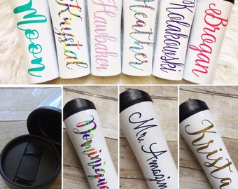 Personalized Coffee Travel Mug, Coffee Cup, Coffee Mug, Travel Tumbler, Patterned Vinyl, Monogrammed Tumbler, Coffee Lover, Hot Chocolate