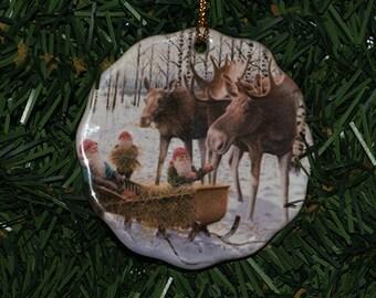 Ceramic Scalloped Edge Ornament - Swedish Tomte & Moose