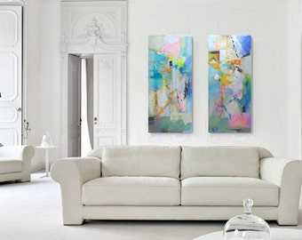 Diptych Painting Large Abstract Painting, Abstract Painting Canvas Art, Canvas Art Acrylic Painting, Mixed Media Wall Art, Expressionist