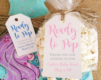 Baby Shower Favor Kits, Baby Shower Tags Bags and Twine, Ready to Pop Kits, Baby Girl Shower Baby Boy Shower Gift Tag, Thank you Tags Kits