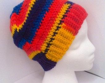 Multicolor beanie hat, primary color beanie hat, slouch hat, patchwork slouchy, rasta hat, rasta beanie, rasta slouchy hat,