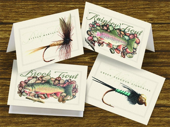 fly fishing notecards, outdoorsman cards, trout notecards, fishing notecards, fly fisherman birthday, fisherman retirement, fly fisherman