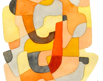 Mid Century Modern Abstract Art Print Poster Art Letter Y yellow mustard orange gray red 8 x 10