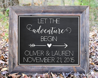Let The Adventure Begin Date Couple Mr. Mrs. Chalkboard Sign Wedding Reception Party Print Printable