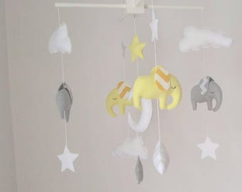 Light grey and light yellow elephants baby mobile - cute little nursery mobile made to order